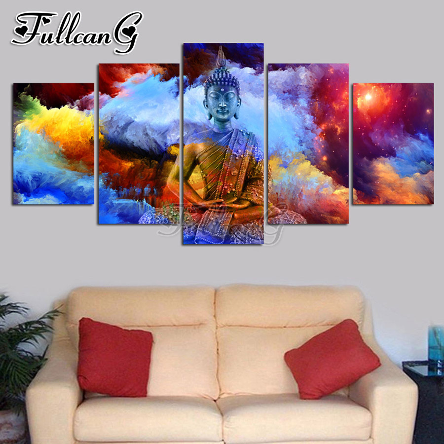 FULLCANG 5 piece diy diamond painting colorful cloud buddha icon full square round drill 5d mosaic embroidery picture kit FC832 in Diamond Painting Cross Stitch from Home Garden