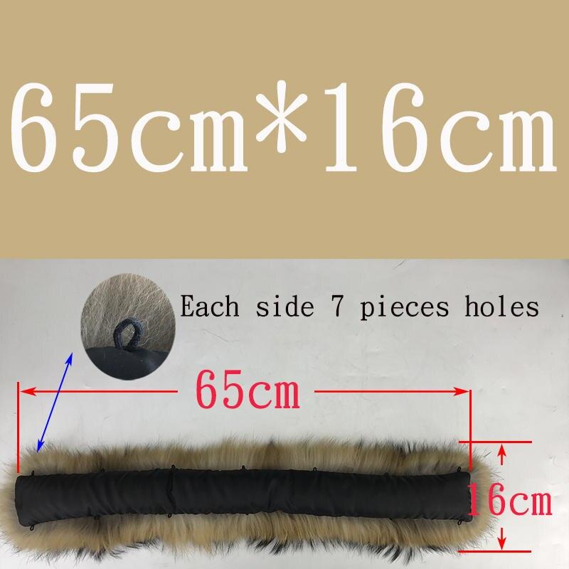 Воротник из натурального меха натуральный мех енота шарф для мужчин женщин детские парки пальто мужской мех воротники черный 50 60 70 90 см - Цвет: Natural 65cmX16cm