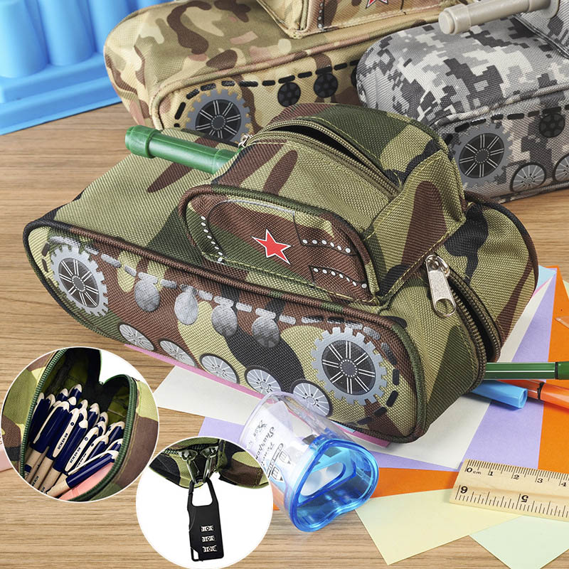 Student Vintage Creative Tank Style Pencil Case Large Camouflage Canvas Pencil Bag With Lock For School Gift big capacity high quality canvas shark double layers pen pencil holder makeup case bag for school student with combination coded lock