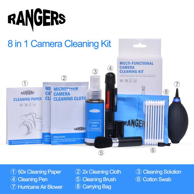 Rangers 8 en 1 Kit de Limpieza Profesional De La Cámara Pro Set para canon nikon sony slr dslr lente de la cámara digital lcd pantallas ra101