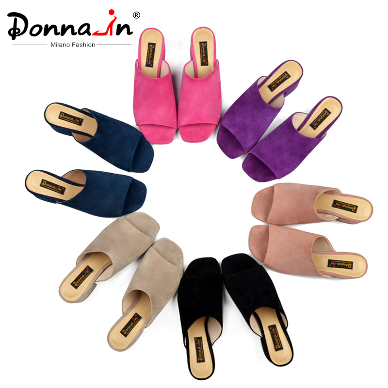 Donna in Mules High Heels Peep Toes Genuine Leather Sandals Women Summer Flip Flops Shoes 2019