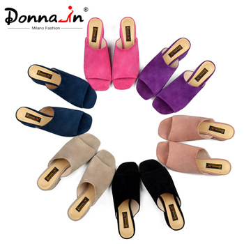 Donna-in Mules High Heels Peep Toes Genuine Leather Sandals Women Summer Flip Flops Shoes 2020 Slides Women Slippers Outdoor