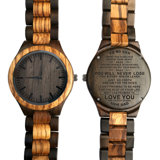ENGRAVED WOODEN WATCH TO MY SON LOVE YOU FOR THE REST OF MINE