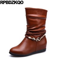 Shoes Flat Retro Fashion Slip On Mid Calf Waterproof Winter Boots Women Brown Metal Chain Fur