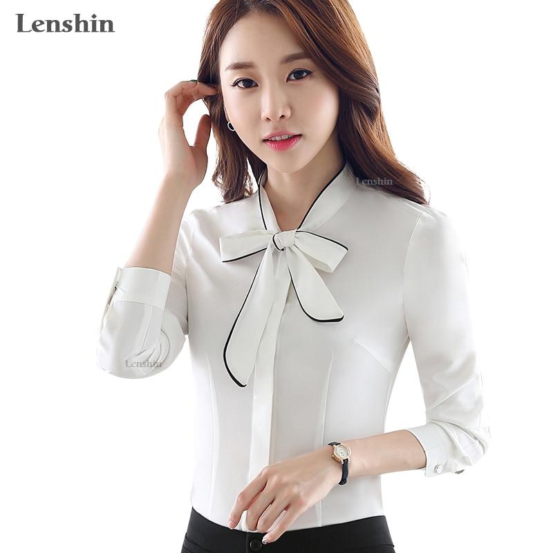 ed2d07be7 Lenshin la tubería blanco blusa de otoño ropa de oficina trabajo ...