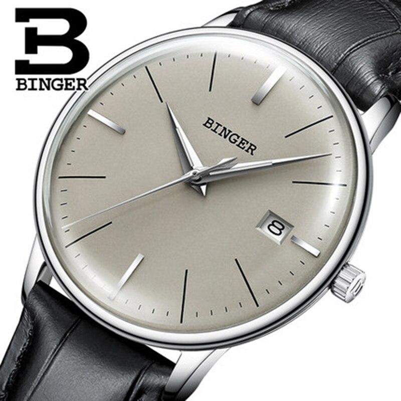 Suisse BINGER Marque Hommes montre bracelet en cuir automatique montre mécanique mâle De Luxe auto-vent simple cruve surface handwatch