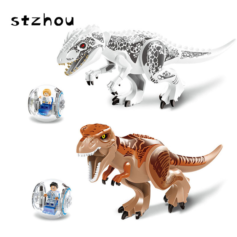 StZhou Original Jurassic World Tyrannosaurus Rex Building Blocks Jurassic Dinosaur Figures Bricks Toys Classic Collection Toy a toy a dream latex mask toy tyrannosaurus rex triceratops mask cosplay carnival dinosaur mask halloween toys props model toys