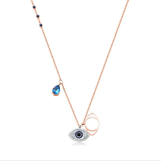 New European Fashion Jewelry Infiniti Titanium Steel Devil s Eye Necklace  Crystal from Swarovski Flashing For Women Party Gift-in Pendant Necklaces  from ... ca767c5db