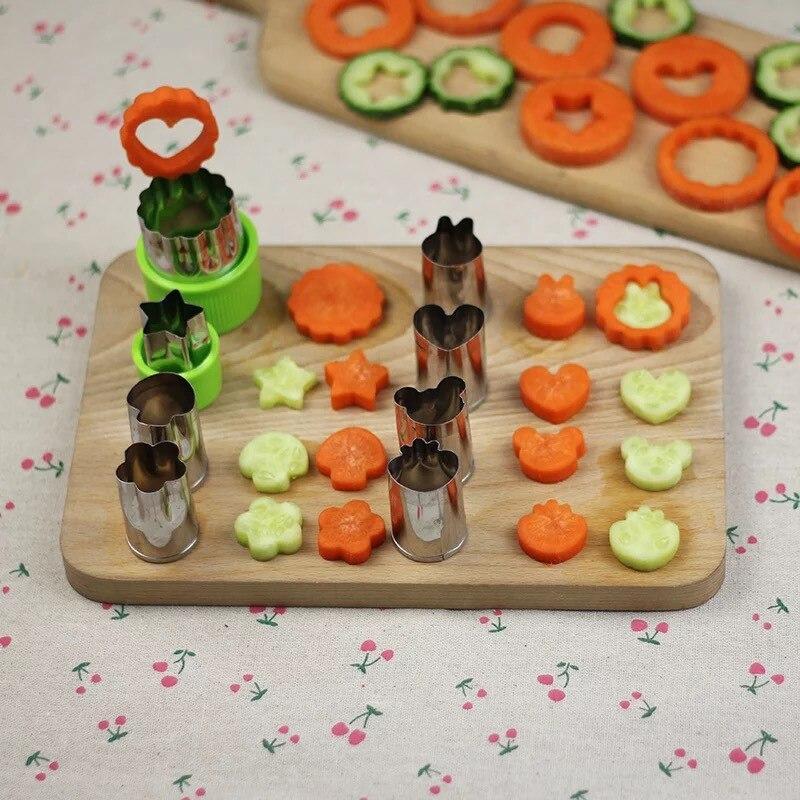 Riz légume Fruit Cutter moule 8 pièces/ensemble fleurs dessin animé Cutter moule acier inoxydable gâteau Biscuit coupe forme outils