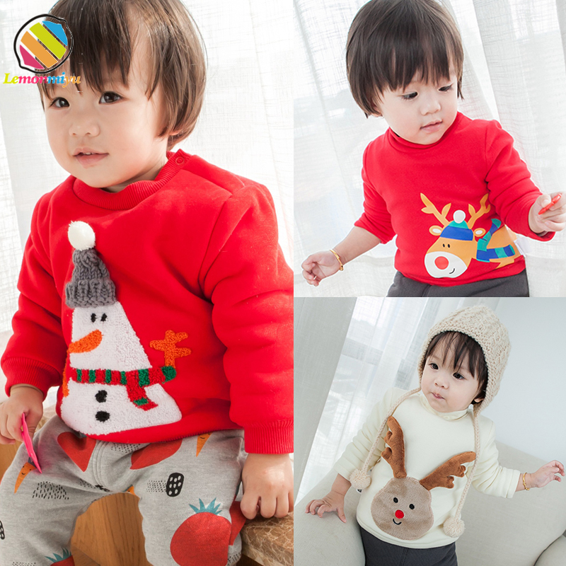 Jul kære fest baby dreng trøjer vinter varme bomuld polstret jakker til piger broderi pels velvet trøje jakker tøj