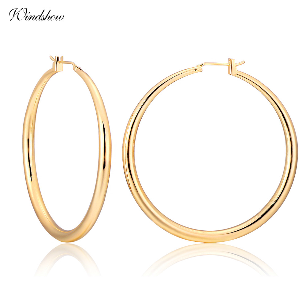 Yellow or Rose Gold Color Round Loop Big Large Circle Creole Hoop Earrings For Women Girls Fashion Jewelry Pendientes Aros Gift