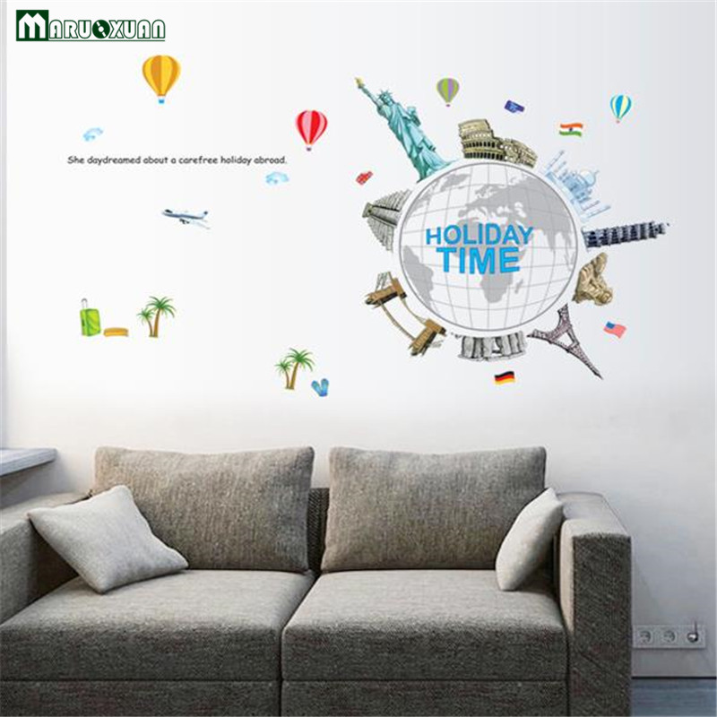 Removable Wall Stickers World Famous Buildings Urban Landscape Tourism Earth Tv Background Wall Stickers