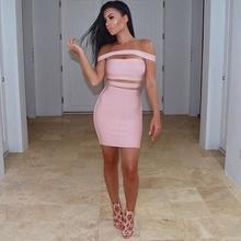 INDRESSME 2017 New Autumn Off The Shoulder Design Sexy Evening Party Bandage Dress