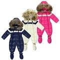 холодные зимние костюмы детскую одежду одежда для новорожденных мальчиков тепло верхней одежды меховой утка водонепроницаемые теплый комбинезон детский мальчик комбинезоны зима унисекс полиэстер ползунки флисовый