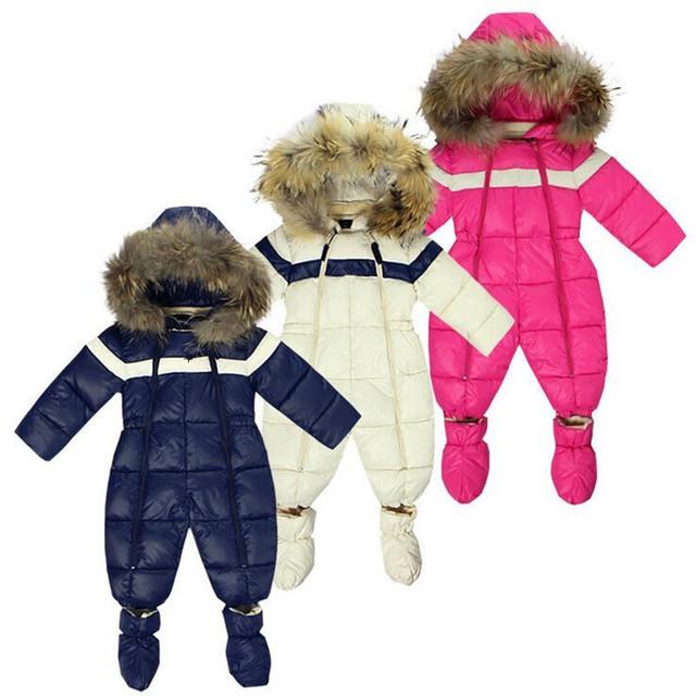 Sale barato de invierno bebé recién nacido bebé traje para la nieve boy monos de nieve con fur toddler clothing wear nieve niños de la capa caliente parka