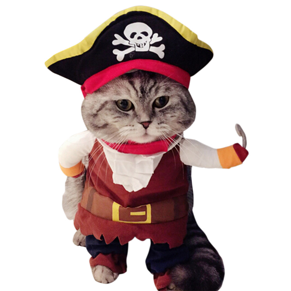 New Funny Clothes For Pet Dog Costume Caribbean Pirate Suit Corsair Dressing up Party Apparel Clothes for Dogs plus Hat 35