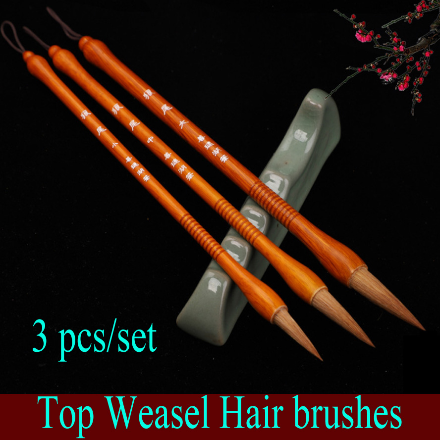 3pcs/set TOP Chinese Calligraphy Brushes weasel hair brush for artist painting calligraphy Art supplies 3pcs set chinese calligraphy brushes pen with weasel hair writing brush artist paint brush