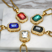 Iced Out Small Square Black Crystal Pendant Necklace For Men/Women Bling Rhinestone Hip hop Jewelry With Box Chain Drop Shipping(China)