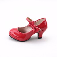 Children 2017 Hot Sale Princess Shoes Girls Party Bow Shoes Shiny Solid Color High Heeled Fashion
