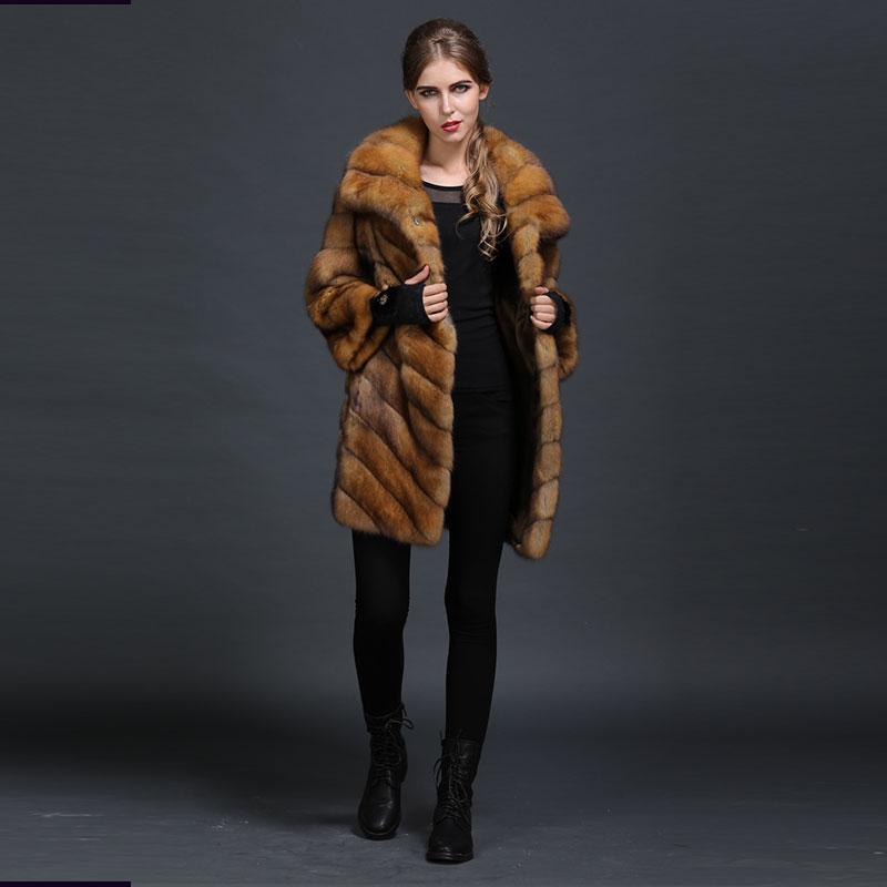 Doublé Wear De Réel Style Soie Manteau Véritable Femmes Casual Couleur Naturel Avec Russie Fourrure Épaisseur Luxe Orange 7ZIvOqx