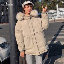 PinkyIsBlack 2019 Jacket Women Winter Fashion Warm Thick Short Style Fur Hooded Cotton Padded Parkas Coat