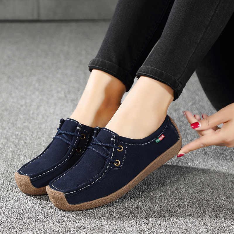 Kadın Flats Hakiki deri makosenler Dantel Up Katlanır Moccasins Katlanabilir rahat ayakkabılar Bayanlar Kare Ayak Kadın Zapatos Mujer