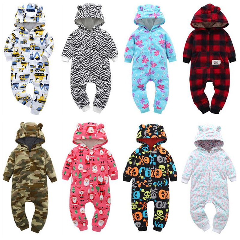 Baby winter clothes girls Coral Fleece Cartoon floral   romper   warm boy   rompers   hooded plush jumpsuit toddler   romper   kids Pajamas
