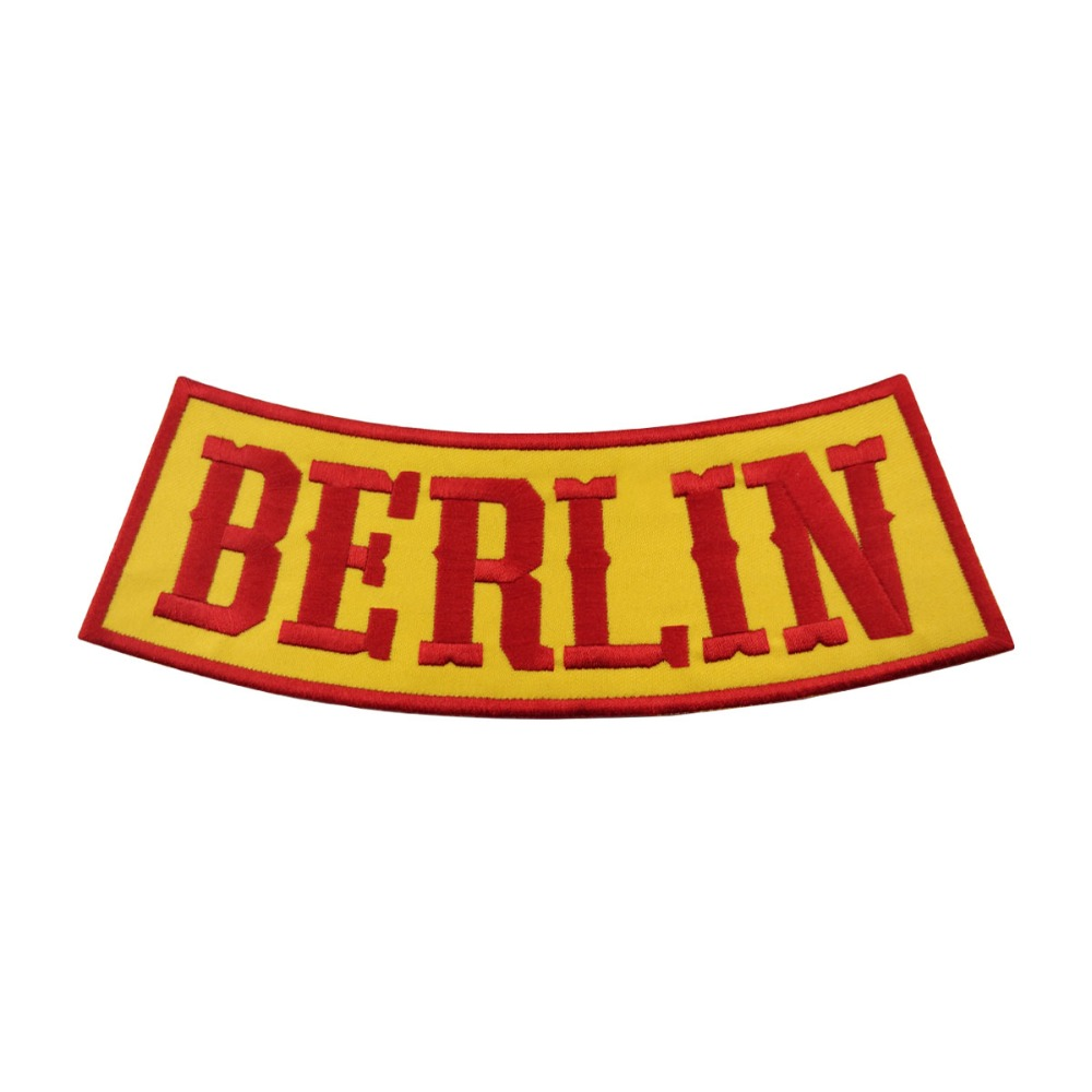 Bandidos outlaw Berlin Rocker Embroidered Iron On Back of Jacket Patch Yellow twill fabric Free Shipping DIY Eco-Friendly Custom
