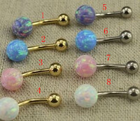 Fashion Surgical Steel 14Gauge Opal Double Gemmed Belly Ring Opal Body Jewelry Gold Belly Button Rings