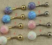 Mode acier chirurgical 14 Gauge opale Double Gemmed du ventre anneau opale bijoux de corps or Belly Button anneaux nombril Piercing