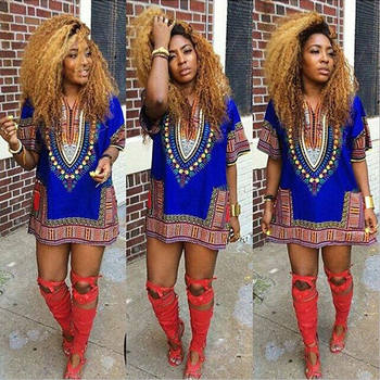 Women African Festival Dashiki Shirt Kaftan Boho Hippe Gypsy Festival Tops Party Dress Plus Size New image