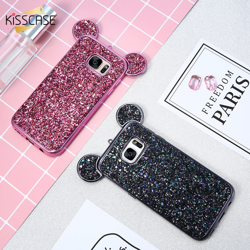 KISSCASE 3D Mickey Mouse Phone Cases For Samsung Galaxy S8 S7 Edge S6 Coque Glitter Silicon Cover Case For Galaxy S6 Edge Capa