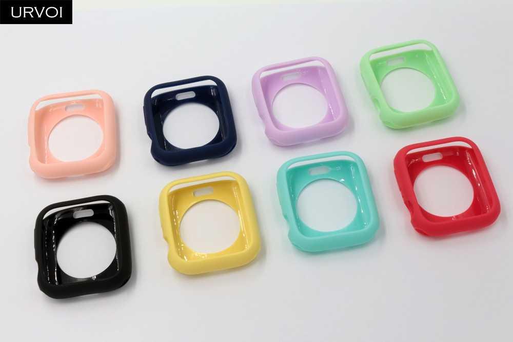 URVOI כיסוי עבור apple watch 4 5 3 2 1 מקרה עבור iwatch פגוש 38 42 40 44mm צבעים בוהקים tpu מגן דק במיוחד מסגרת להקה