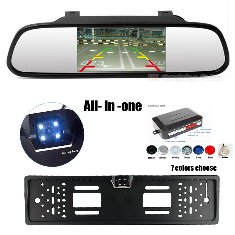 3 IN1 4.3 Inch HD Car Rear View LCD Mirror Monitor +Rearview Reverse Backup Camera+Video Parking Radar Sensor System,Free ship wireless car rear view kit 4 3 tft lcd vehicle screen monitor 170 wide degree mini reverse backup camera parking sensor 4 radar