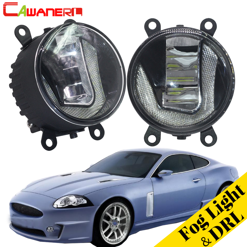 Cawanerl 2 Pieces Car Styling 2in1 LED Fog Light Daytime Running Light Lamp DRL White 5000K 12V For Jaguar XK _J43_ 2006-2013 cawanerl for toyota highlander 2008 2012 car styling left right fog light led drl daytime running lamp white 12v 2 pieces
