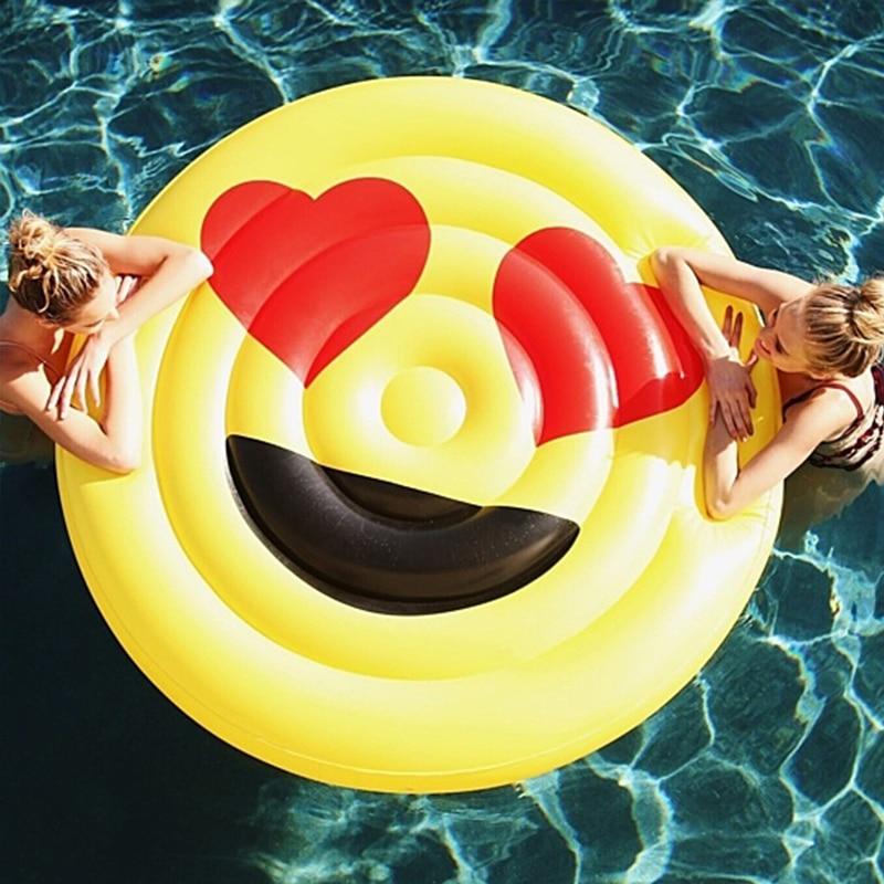 Le plus nouveau géant LOL Emoji piscine gonflable flotteur jouets d'été Expression piscine pour adultes plage fête chaise longue rangée flottante