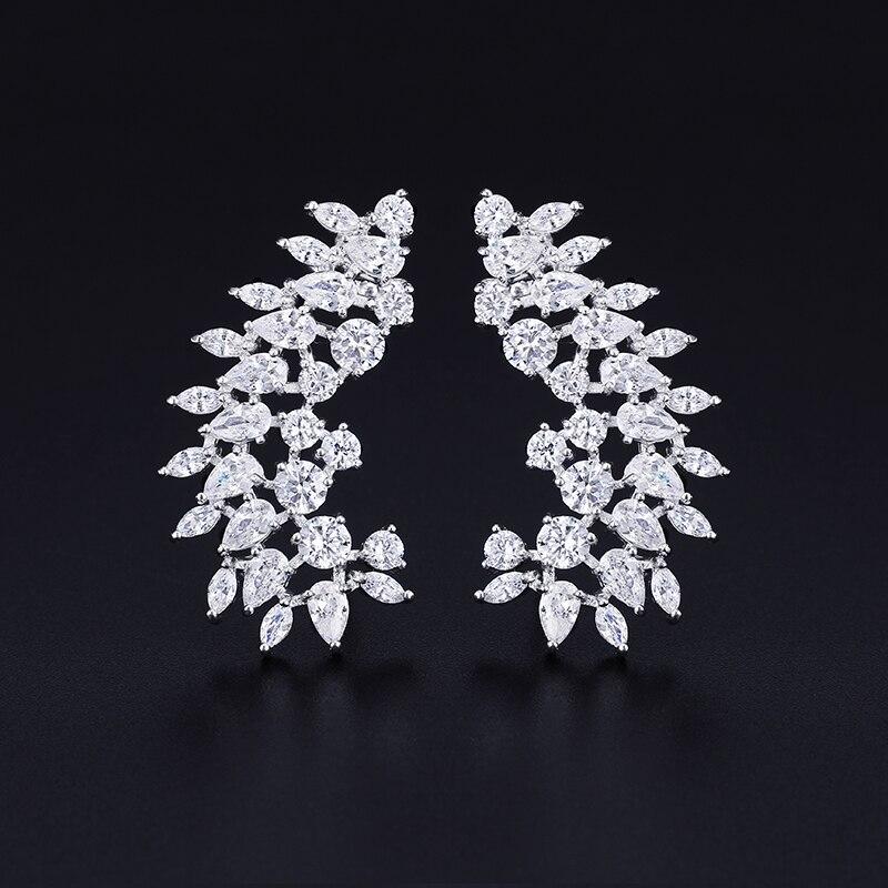 XIUMEIYIZU Fashion New Arrival Mixed Red And White Cubic Zirconia Ear Climber Wrap Cuff Clip Earrings