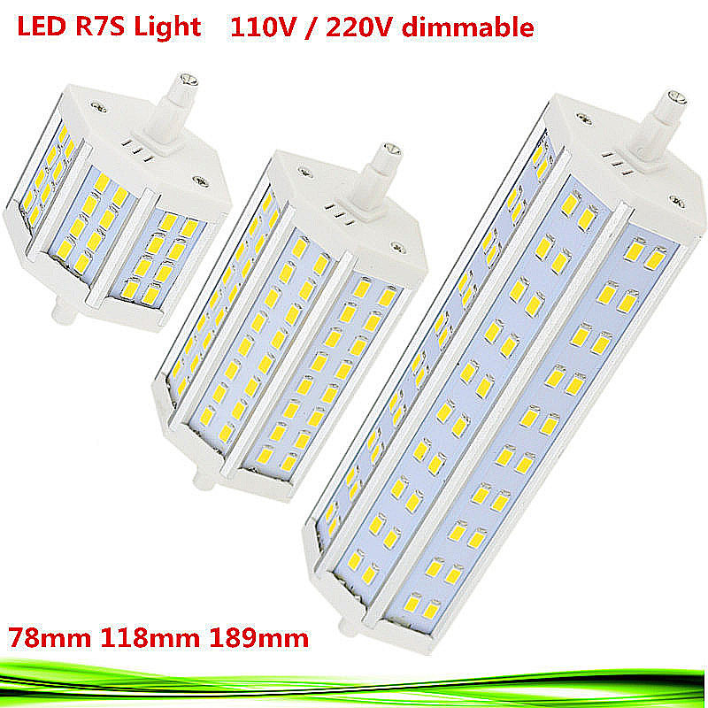 10X Dimmable <font><b>LED</b></font> <font><b>R7S</b></font> bulb 110V 220V 15W 25W <font><b>30W</b></font> <font><b>r7s</b></font> 78mm 118mm 189mm <font><b>led</b></font> spot light replace halogen Lamp floodlight lampadas image