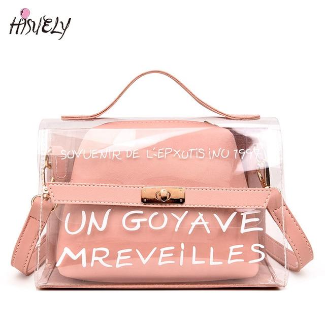 2fa8f78588c7 New Design Women Transparent Bag Clear PVC Jelly Small Tote Summer Beach Bag  Messenger Bags Female Crossbody Shoulder Bags Sac