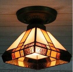 Darmowa wysyłka modne dekoracje do domu  20CM lampa Tiffany ze szkła artystycznego z żarówką LED 5W  tradycyjna czarna biała wisząca