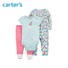 3pcs heart print bodysuits kitty footed pant clothing sets Carter s baby girl soft cotton Spring