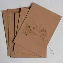 Бумажная карточка для письма 350 г крафт-сообщение винтажная Упаковка карт из 5 штук DIY Размеры изделия 21X15 см Рисование вручную создано