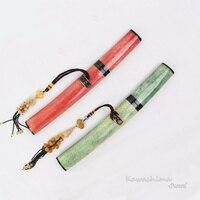 Handmade Samurai Sword Japanese Tanto Folded Steel Blade Wooden Scabbard With Real Skin Sharpness Ready Dagger Knife