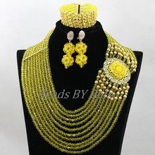 Lemon Yellow African Wedding Jewelry Set Handmade Crystal Beads Gold Plate Bridal Necklace Jewelry Sets Free Shipping ABK835