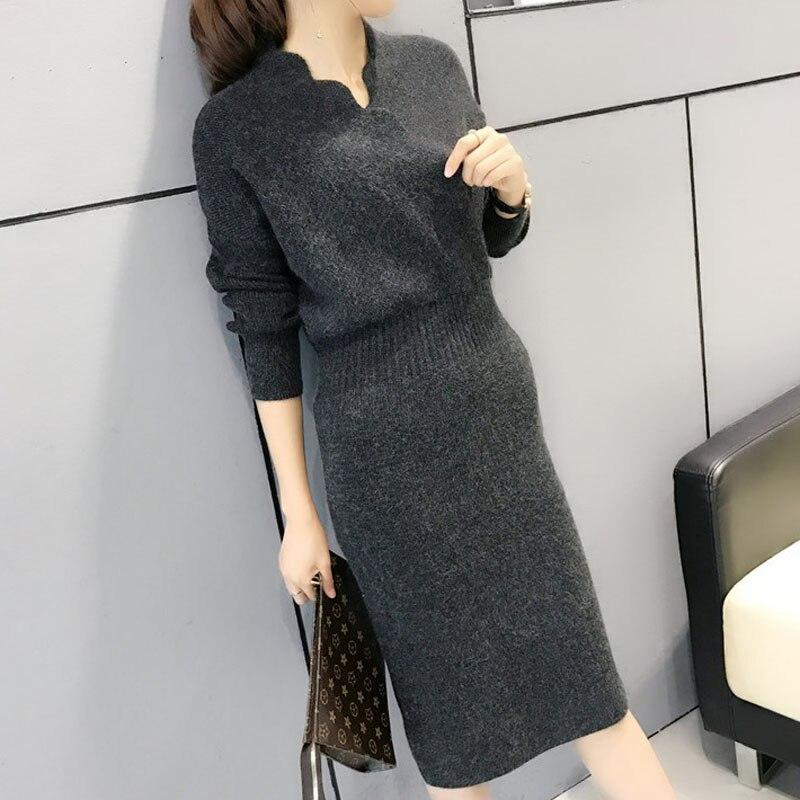Femmes pull robe style coréen 2019 automne et hiver moyen-long place hanche femme tricoté robe mode sexy joli