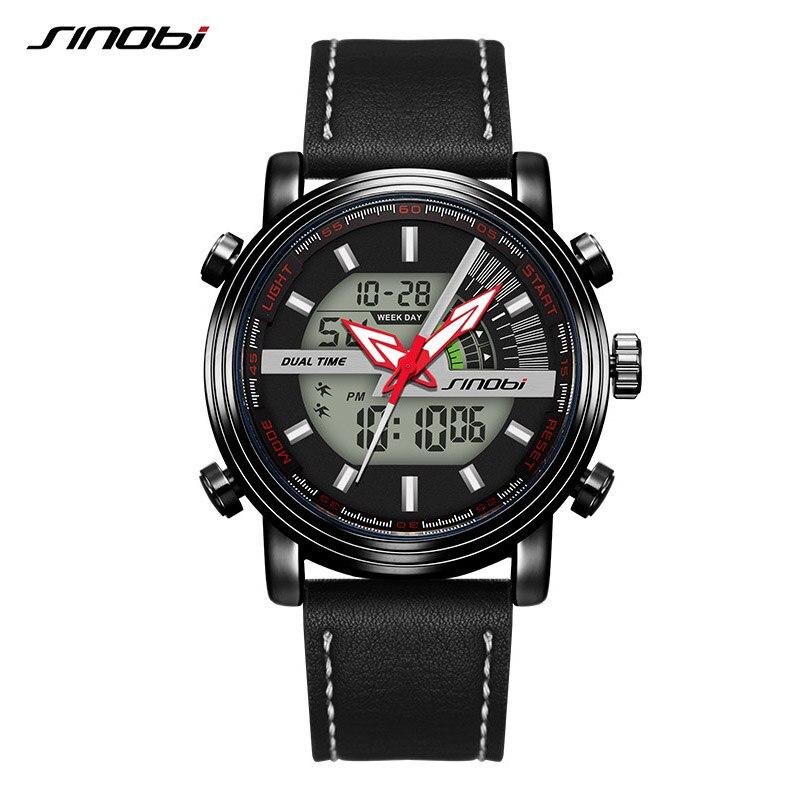SINOBI Men Watch Clock Waterproof Top-Brand Fashion Casual Digital Belt Saati Homme Male