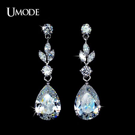 font b UMODE b font Brand Rhodium plated Clear Water Drop font b Earrings b