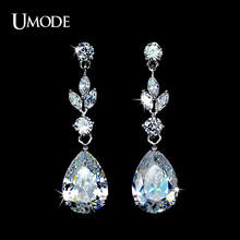 UMODE Brand Rhodium plated Clear Water Drop Earrings For Women Fashion Long Dangle Earrings Jewelry Brincos