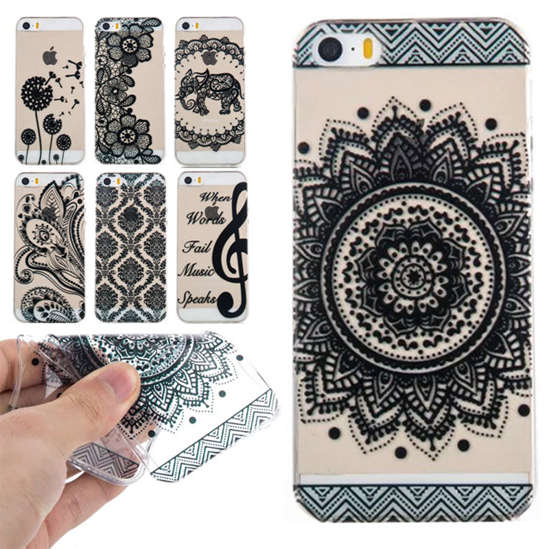 2f5cd9bac41 Transparent Mobile Phone Cases for Apple iPhone 5S 5 S SE Stylish Henna  Flower Paisley Tribal