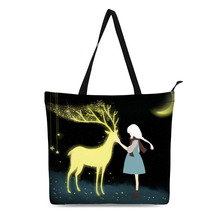 Canvas Shopping Bag Personalized Tote Bags Shoulder 3D Cure Illustrations Design Black Grocery Cotton Handbag